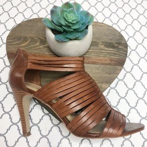 Franco Sarto Brown Leather Strappy Heels (8)